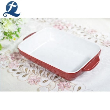 Heat Resistant Durable Hotel Stoneware Bakeware Bread Baking Tray With Binaural