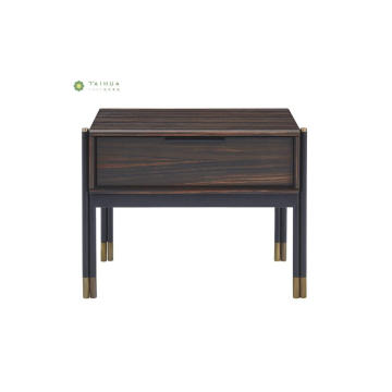 Dark Wenge Night Stand con patas de metal