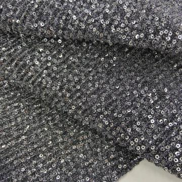 Silver Sequins Embroidery On Lurex Pleated Knit