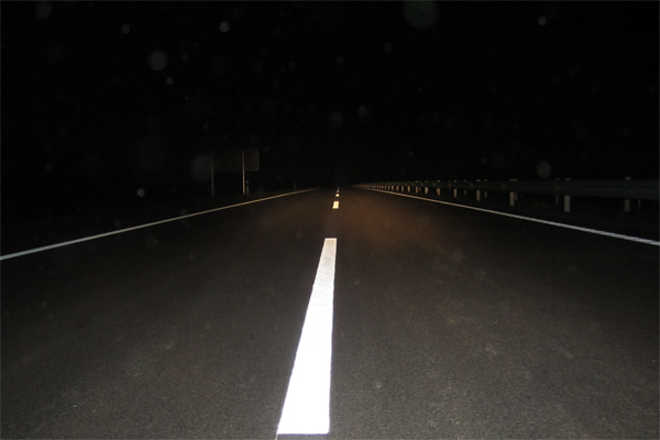 road marking lines in night