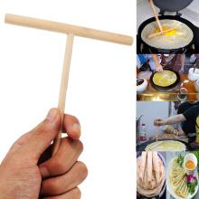 1PCS T-shaped Kitchen Accessories Crepe Maker Kitchen Wooden Spreader Stick ToolsPancake Batter 12*17cm