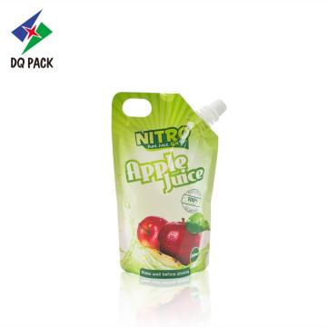 Apple juice pouch with spout with injection hole
