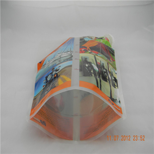 Custom printed spout bag packaging for engine lubricant