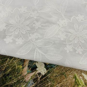 Magnificent Lilied Flower Cotton  Embroidery Fabric