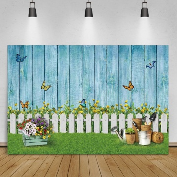 Easter Background Blue Wood Wall Fence Spring Green Grass Potted Flower Baby Kid Portrait Photography Backdrop For Photo Studio