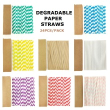 Eco-friendly Paper Drinking Straws Disposable Drinking Straws Single Use Cocktail Foil Stripe Biodegradable Paper Drinking Straw