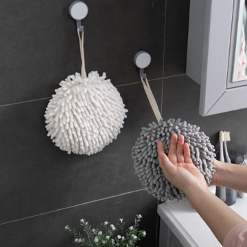 Hand Towel Kitchen Bathroom Soft Plush Chenille Hanging Towel Quick-Drying Towel with Loop Washable Dryable Ball Towels For Hand