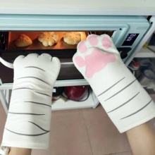 3D Cartoon Cat Paws Oven Mitts Long Cotton Baking Insulation Gloves Microwave Heat Resistant Non-slip Kitchen Gloves**