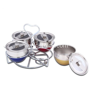 Set of 4 Stainless Steel Condiment Serve Pots