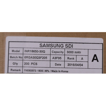 Samsung ICR18650-30Q li ion battery cell