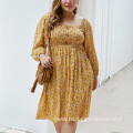Women Plus Sizes Small Floral Printing Cotton Dress