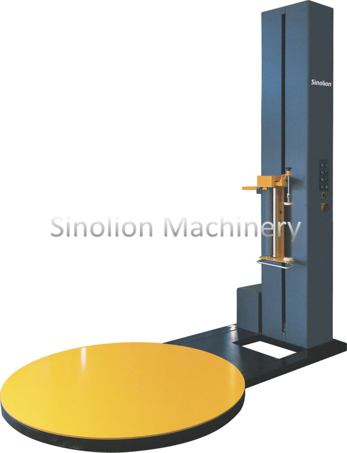 Friction pallet stretching wrapping machine