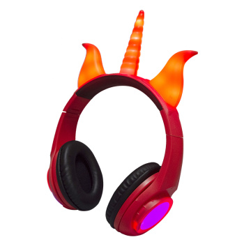 Light up fold design unicorn devil headphone