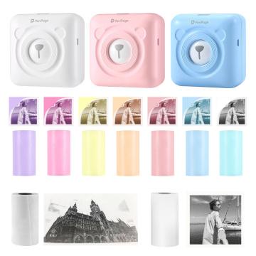 Mini Bluetooth Wireless Thermal Printer Sticker Paper Kit Photo Label Printing Portable Label Sticker Photo Thermal Printer