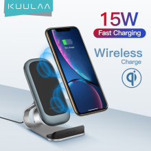 KUULAA Qi Wireless Charger 15W for iPhone 12 11 pro Samsung S9 Xiaomi Fast Wireless Charging Dock Station Phone Holder Charger