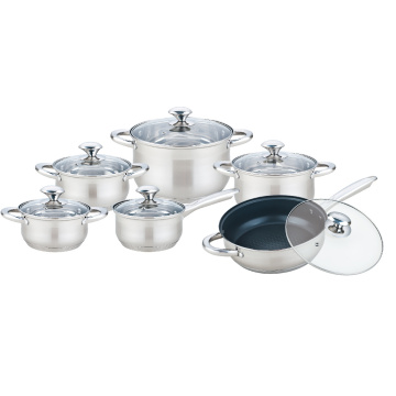 Stainless Steel Cooking Pot Set with Non-Stick Frypan