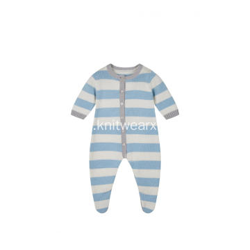 Boy's Girl's Knitted Stripe Buttoned Baby Romper