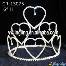 Wholesale Clear Crystal Charm Heart Holiday Pageant Crowns