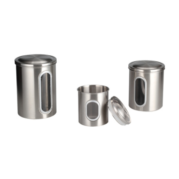 Household Stainless Steel Canister With Window