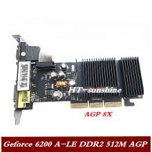 Video card GeForce 6200 A-Le desktop AGP 8x interface graphics card 6200A-Le AGP 512M 1pcs free shipping