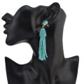Long Simple Turquoise Beaded Tassel Earrings