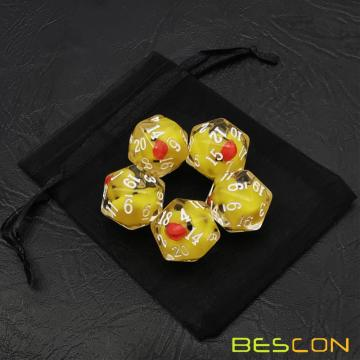 Bescon Yellow Duck 20 sides Dice set of 5,  Duck D20 5pcs Set
