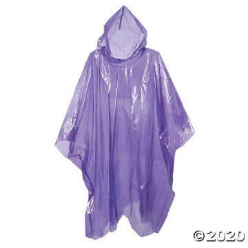 PE transparent rain poncho with a plastic ball