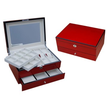 Red Jewelry Box Has Drawer