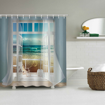 Window Beach Sea Wave Flowing Curtain Waterproof Shower Curtain Bathroom Decor