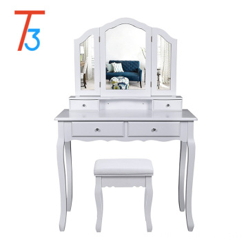 drawers dressing table bedroom with lighted white mirror