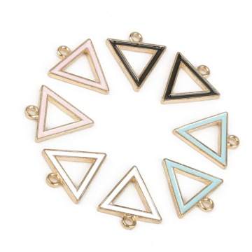 15mm Zinc Alloy Metal Pure Color Enamel Hollow Geometric Triangle Shape Charm Pendant For DIY Earring Necklace Jewelry Findings