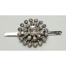2.3cm Round Metal Shoe Clips with Rhinestone Embellishment