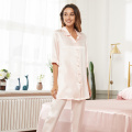 Luxury Long Pants Silk Pajamas V Neck 19Momme