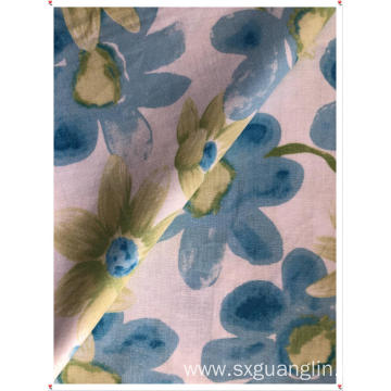 linen cottton mix print fabric for garments