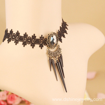 DIY Gothic Choker Necklace Black Lace Metal Choker Necklace