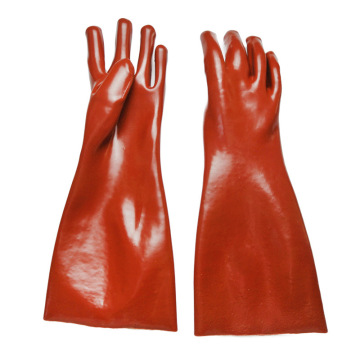 Brown  Pvc Coatd Glove.Smooth finish. 45cm