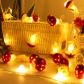 10/20Leds Mushroom Shape String Lights Battery Operated LED Night Lights Decoration Christmas Party Home Garland Fairy Lights