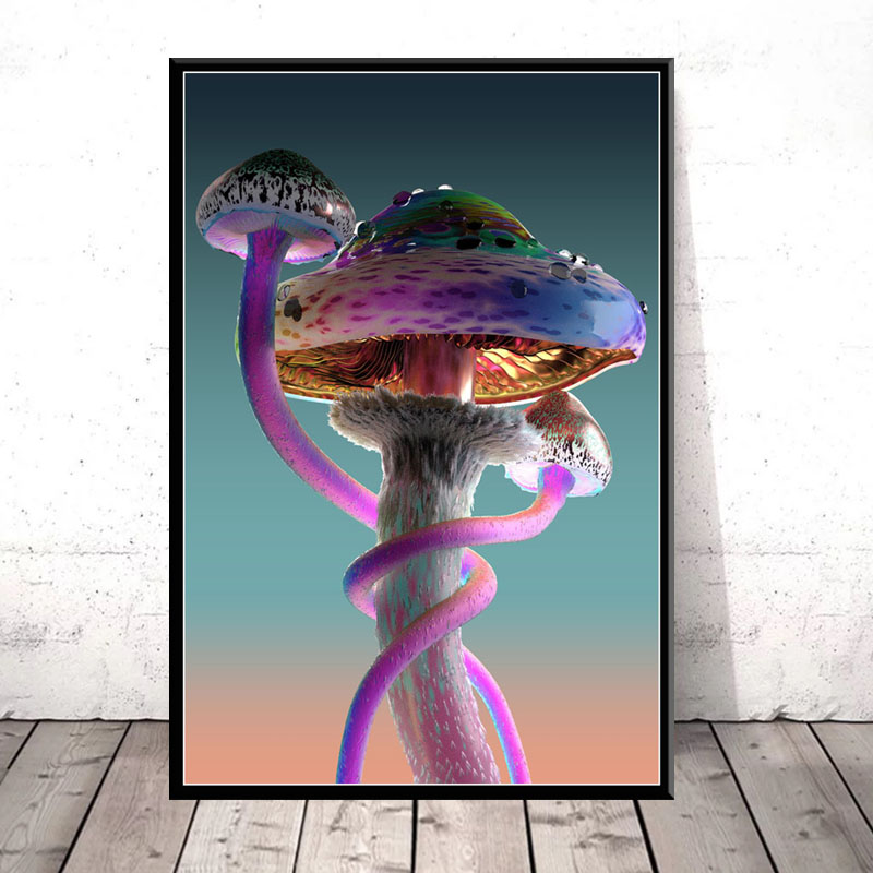 Wall Art Modular Prints HD Pictures Mushroom Nordic Style Modern Poster Canvas Painting For Living Room Cuadros Home Decoration