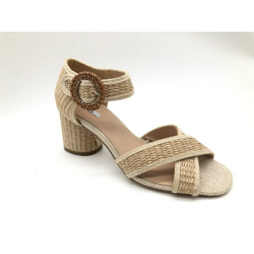 Ladies  open round toe chunky heel sandal