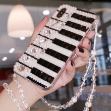 Pearl Diamond Music Black White Piano Key Crystal Chain Case Cover For Samsung Galaxy Note 20 10 9 8 S20 Ultra S10E S10/9/8 Plus