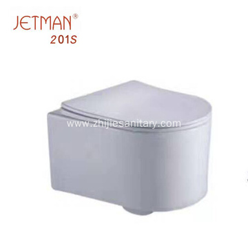 wall hung toilet with soft closing seat cover