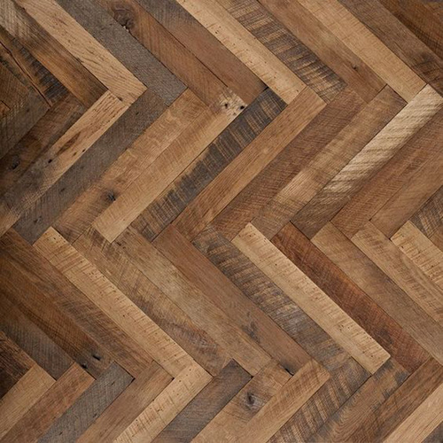 White Oak Design Herringbone Kitchen Flooring