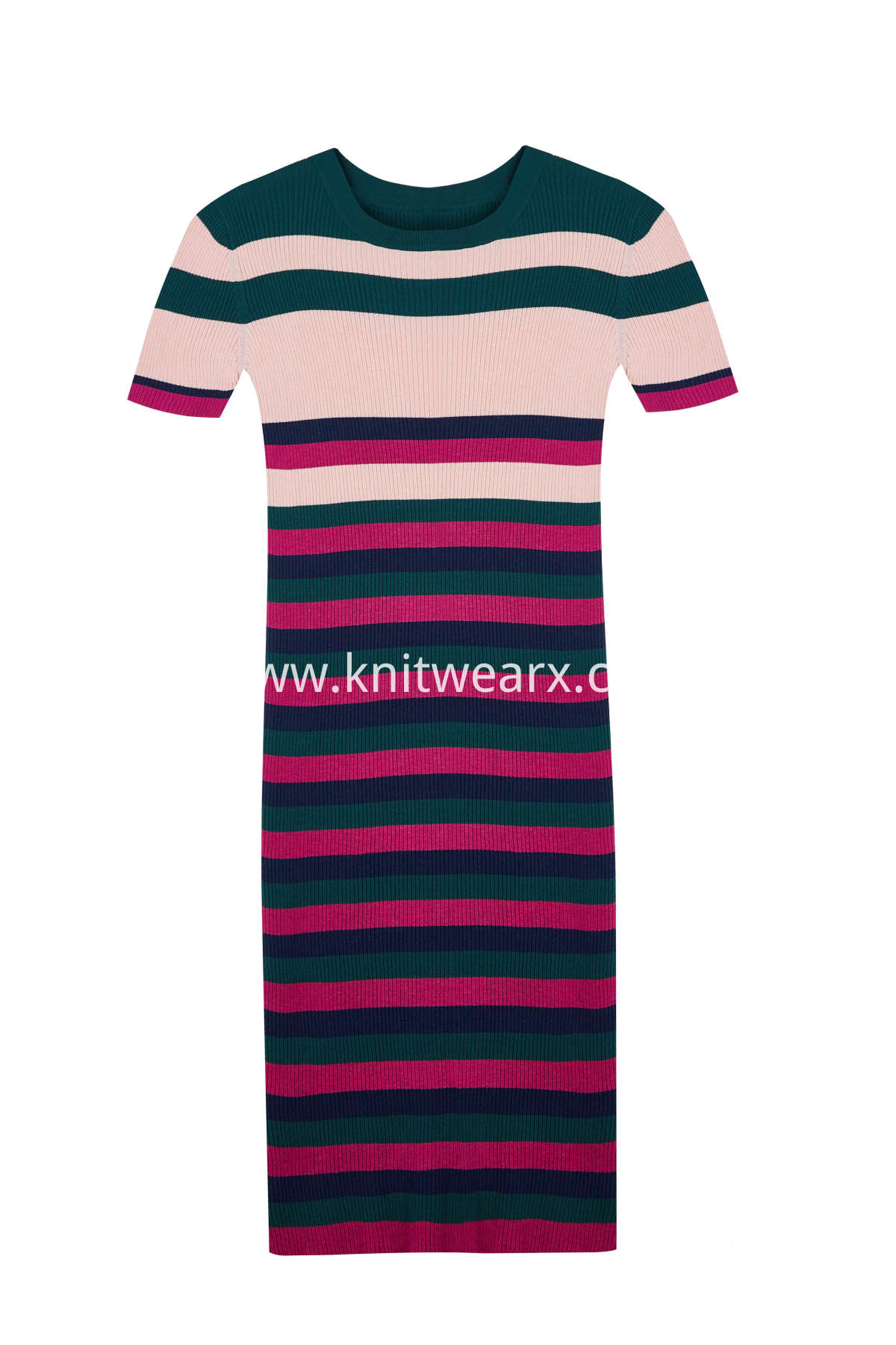Women's Stripe Ribbed Knitwear Slim Fit Dress Short Sleeves