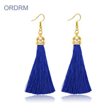 Bohemian Style Long Navy Blue Tassel Earrings