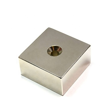 Block Neodymium magnet with Countersunk screw hole