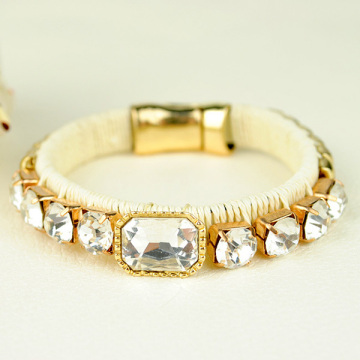 Weaved Wrap Crystal Magnetic Bracelet Gold Bangle Bracelet