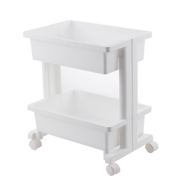 Two floors of kitchen plastic shelving