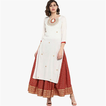New India Fashion Woman Ethnic Styles Print Sets Kurtas Cotton Dress Three Quarter Sleeve Costume Elegent Lady Long Top Skirt