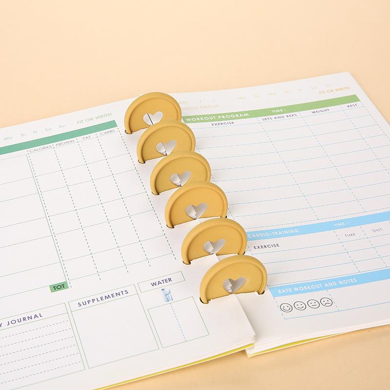 35MM Heart-shaped Planner Disc Matte Mushroom Binding Buckle Notebook Binder Ring 360 Degree Foldable Binder School Accessories