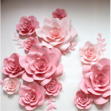Window large pearlescent cardboard flower three-dimensional handmade flower finished rose wedding wedding background simulation